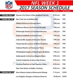 2017 NFL Week 1 Schedule